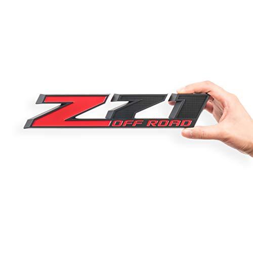 2Pack Z71 Emblem Z71 OFF ROAD Decal Badge for Chevy Silverado Colorado GMC Sierra (Red+Matte Black)