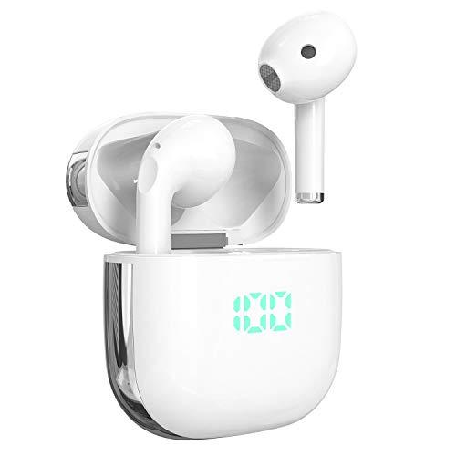 Bluetooth Kopfhörer in Ear, Kabellose Kopfhörer Apt-X Bluetooth 5.0 HiFi Stereo Sound True Wireless Earbuds mit Integriertem Mikrofon und Typ-C Ladehülle,Wasserdicht Unterstützt kabelloses Laden- Weiß