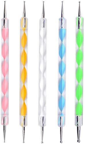 Dotting Pen 5 stücke Strass Nail Art Dotting Tools Spot Swirl Nail Design Marbleizing Werkzeug für Punkte und zum Marmorieren (5 Stück)