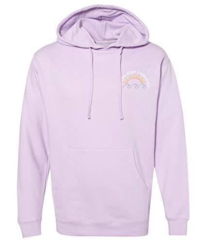 Koloa Surf Ladies Sun and Waves Logo Pullover Hooded Sweatshirts-L-Lavender/w