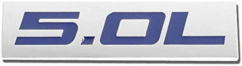 5.0L Blue/Chrome Aluminum Alloy Auto Trunk Door Fender Bumper Badge Decal Emblem Adhesive Tape Sticker