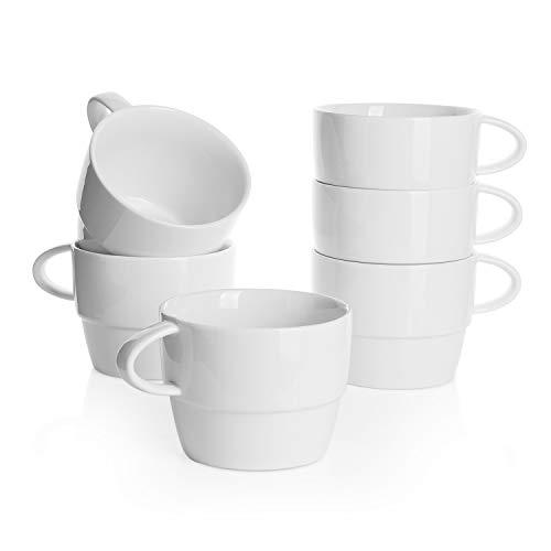 Sweese 407.001 6er Set Kaffeebecher aus Porzellan, 320 ml, Stapelbare Tasse für Heißgetränke