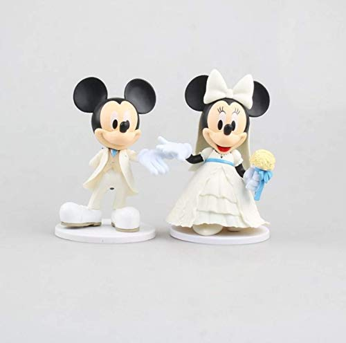 qinhuang 2Pcs Cartoon White Wedding Mickey Minnie Mouse Action Figures Toy, Cute Cake Decoration For Kids Gift