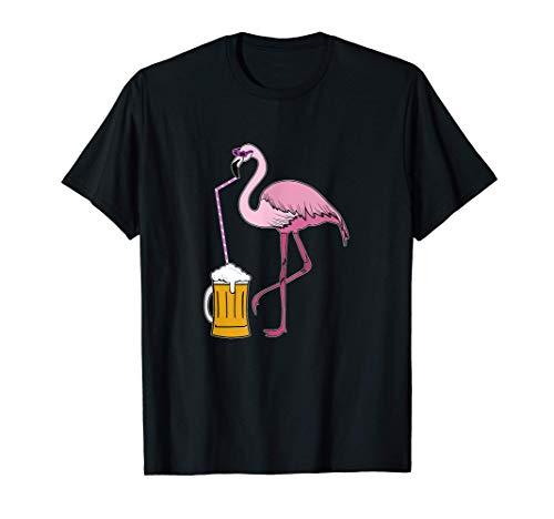 Fenicottero divertente che beve birra tropicale, festa Maglietta
