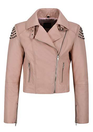 Carrie CH Hoxton Chaqueta de Cuero con Tachuelas de Calavera de Mujer Rosa Espalda ESTUDIADO Biker Real Soft NAPA 2740