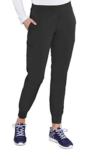 Med Couture Women's Energy Smocked Waist Jogger Pant, Black, Small