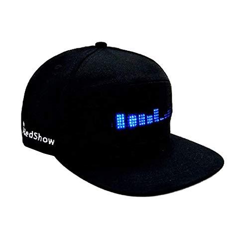 Crzmtph Hip Hop Baseball Caps Kappen Herren Mode Cap Led Cool Hat Mit Led Laufschrift Bildschirm Licht Wasserdichtes Smartphone Gesteuert Hut, Für Straßentanz/Werbung Laufschrift/DJ/Party (Black)