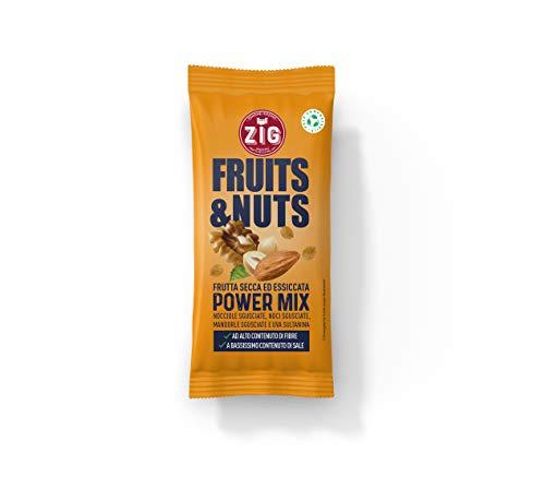 ZIG Fruits & Nuts Power mix 300g | Mandorle, noci, nocciole, uva sultanina | (10 bustine da 30g) Pack 100% compostabile