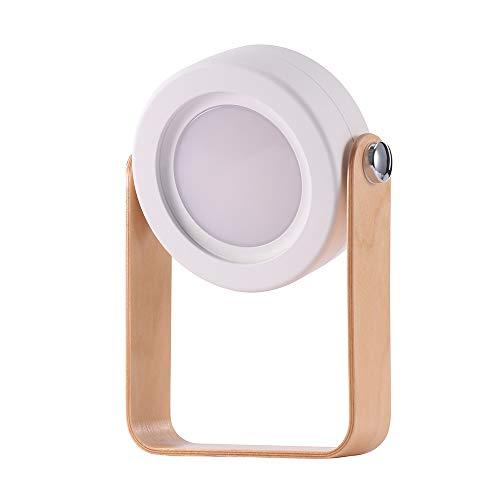 SOOTOP Lámpara de escritorio, lámpara portátil plegable retráctil de noche, Lámpara LED de lectura, lámpara de mango de madera, luminancia ajustable de grado 3, carga USB, protección ocular