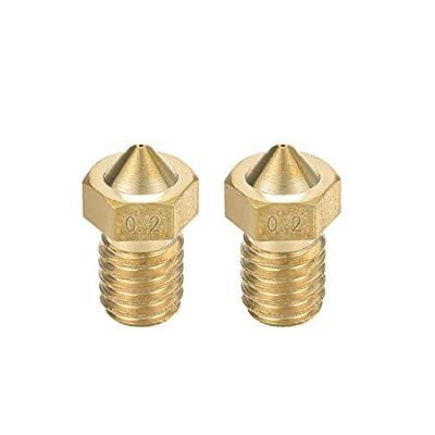 sourcing map 2pcs 3D Printer Nozzle,Brass V6 Nozzle 0.2mm,Extruder Print Head for Filament 1.75mm V5-V6 M6 3D Printer