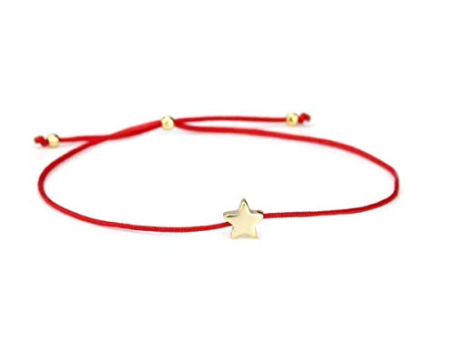 SCHOSCHON Damen Armband Stern 925 Silber in Rot-Gold dünn verstellbar // beste Freundin Geschenk Frauen Armbändchen Sternchen Schmuck