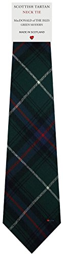 I Luv Ltd Cravate en Laine pour Homme Tissée et Fabriquée en Ecosse à MacDonald Of The Isles Green Modern Tartan