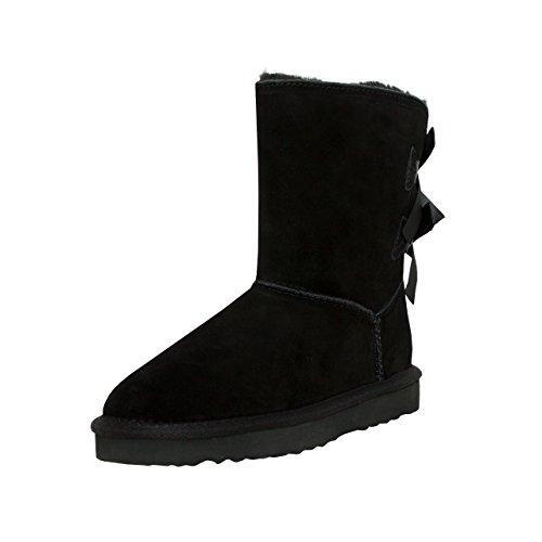SKUTARI Playful Double Bow Boots, handgefertigte italienische Lederstiefel für Damen mit gemütlichem Kunstfellfutter, Rutschfester und Gepolsterter Sohle, Schwarz, 39 EU
