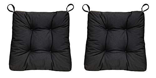 sleepling 2er Set Stuhlkissen/Sitzkissen Eva für Indoor und Outdoor, Maße: 40 (vorne) / 35 (hinten) x 38 x 8 cm, schwarz