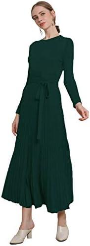 RanRui Long Sweater Dresses for Women Women s Cashmere Round Neck Sweater Dress Knitting Belt product image