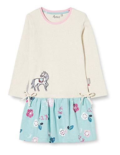 Sigikid Mädchen Mini Langarm-Kleid aus Bio-Baumwolle, Größe 098-128, spielerisches Hangtoy Kinderkleid, Beige/Pferd, 128