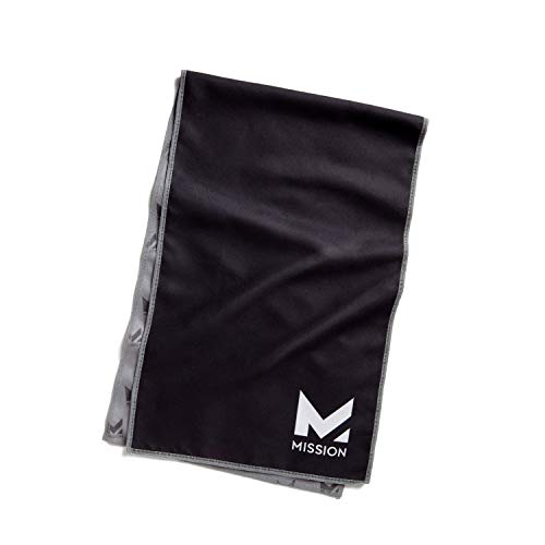 "Mission Original Cooling Towel- Evaporative Cool Technology, Cools Instantly when Wet, UPF 50 Sun Protection, For Sports, Yoga, Golf, Gym, Neck, Workout, 10"" x 33""- Black"