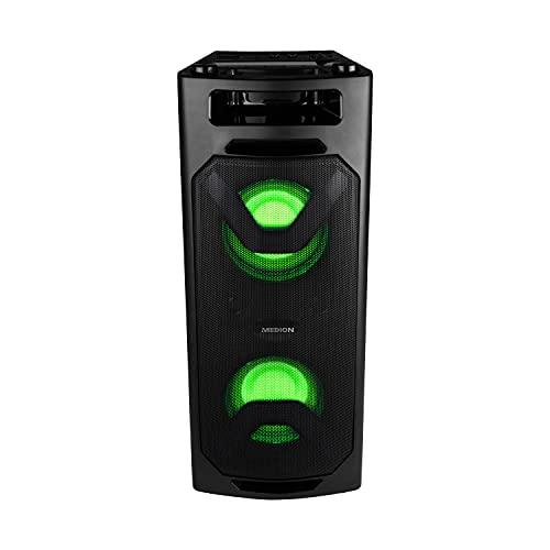 MEDION P67032 Party-Soundsystem (Partylautsprecher, Karaoke, Akku, UKW Radio, Bluetooth 2.1, Kompaktanlage, 2X 200 Watt, Farbige LED, USB, AUX, 2X Mikrofonanschluss)