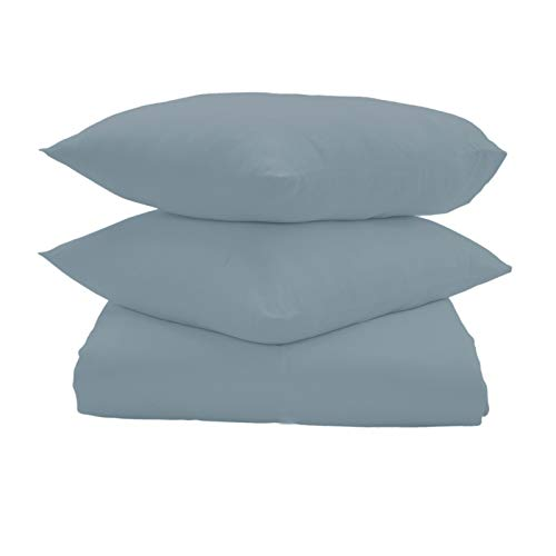 Umi. by Amazon 100% Cotton Plain Sateen Super King Size Duvet Cover with Two Pillowcases, 300 Thread Count, Soft Blue, Super Soft and Comfortable, Breathable