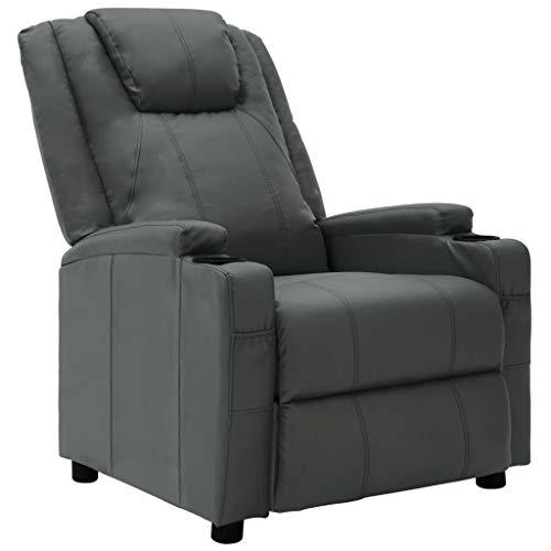 vidaXL Poltrona relax, poltrona relax per TV, sedia a sdraio, in ecopelle, colore antracite