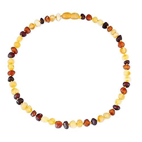 zaa Collar de dentición de ámbar báltico para bebé tamaño 14-35cm - caja de regalo - 4 colores