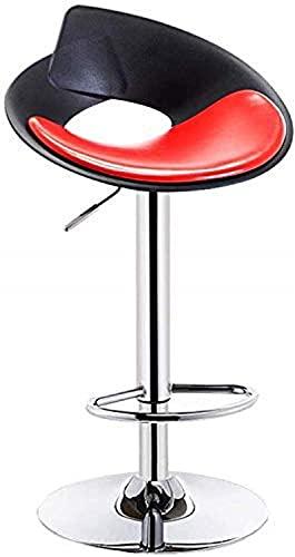 MKKM Bars, cafés, restaurantstoelen, stoel bureaustoel bar café restaurant stoel barkrukken draaibare barkruk stoelen met rug teller hoogte krukken stabiele grote chromen basisolie wax stof rood