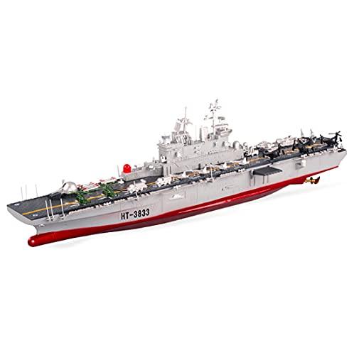 Warez Portaaviones teledirigido | Super-gran mando a distancia de barco eléctrico, 1:350, 75 cm de largo, 6,8 km/h, 2,4 GHz, modelo de barco militar para niños y adultos HT-3833B