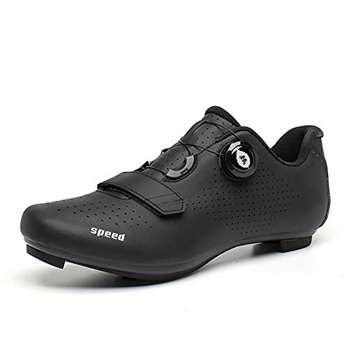 LIXIYU Zapatillas de Ciclismo para Mujer, Hombre, Bicicleta de Carretera SPD, Zapatillas de Ciclismo, cordón de Zapatos con Cordones de Zapatos compatibles,Black1-44(UK9.5)