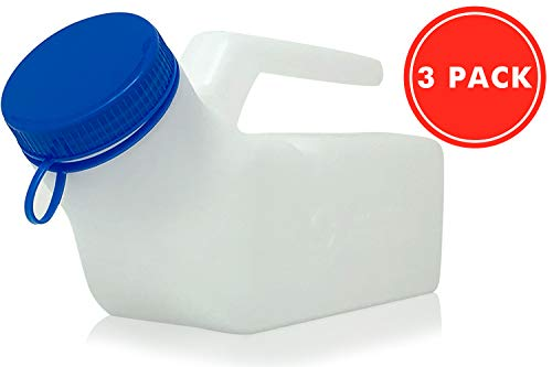 Home With Comfort Urinals for Men 3pk - Upgraded Thick Urine Bottles for Men with Spill/Leak Proof Screw-On Lids - 32oz/1000ml Portable Urinal for Men - Bed Pan - Pee Bottles for Men (3)