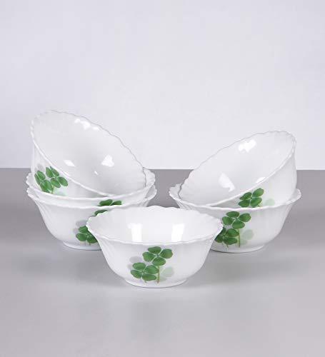 LaOpala Diva Vegetable Glass Dual Harmony Bowl , White -Set of 6