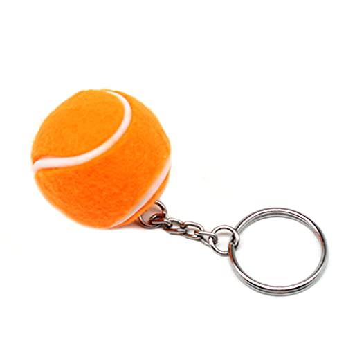 Asdf586io Cute and Charm Keychains, Soft Lovely Flocking Mini Sport Ball Tennis Key Ring for Bag Wallet Decor, Kids Gift - Orange