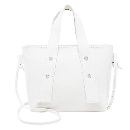 Goddessvan Women Solid Color Leisure Crossbody Bag Zipper Bag Shoulder Bag Hand Bag White