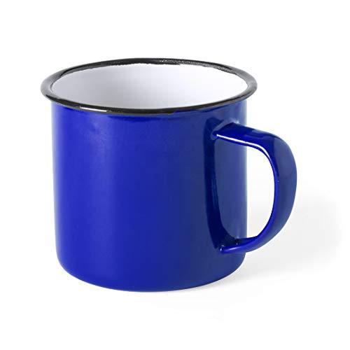 FUN FAN LINE - Set de Tazas metálicas Vintage o Retro presentada en Caja Individual (Azul, 4 Tazas)
