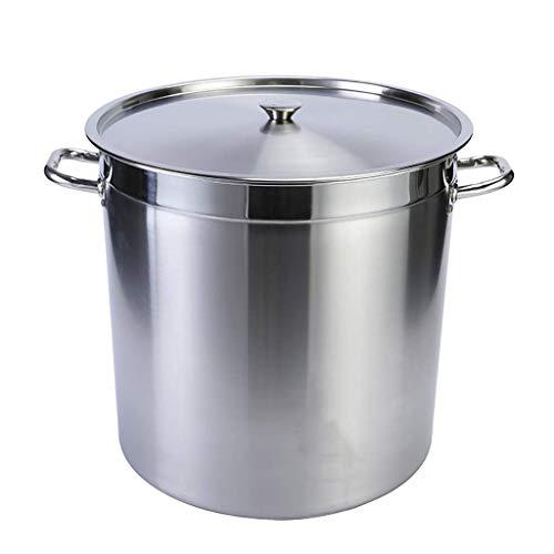 Cazos de Cocina, Ollas de sopa con tapa, olla común, olla de sopa de acero inoxidable comercial / doméstico 201, olla de cocina con tapa, (25-50 cm), para estufa de gas / cocina de inducción (