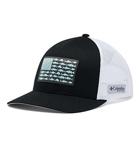 Columbia Unisex PFG Fish Flag Snapback Ball Cap, Black, White, One Size