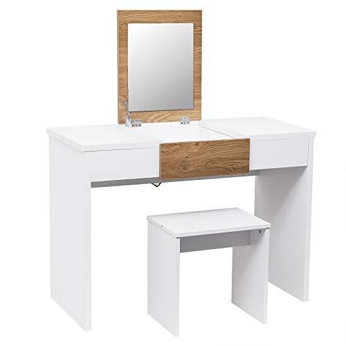 WOLTU Tocador con Espejo Mesa de Maquillaje con Taburete y Espejo Plegable, Mesa Brillante 100x47,5x72cm Blanco/Roble MB6048wse