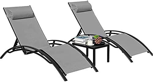 Tumbona de Jardín, Conjunto de 1 Mesa y 2 Tumbonas, Tumbona reclinable, Juego de Tumbona Plegable, Sillas de Jardín de...