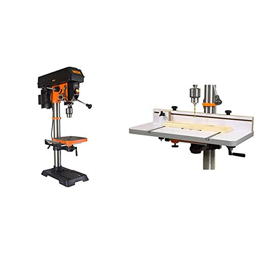 WEN 4214 12-Inch Variable Speed Drill Press,Orange & DPA2412T 24 in. x 12 in. Drill Press Table with an Adjustable Fence and Stop Block