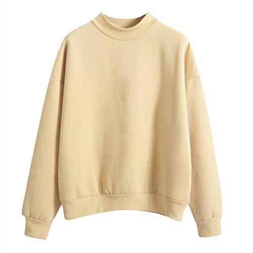 Reooly Sudadera de Felpa suéter de Manga Larga con Cuello en O de Color Liso para Mujer