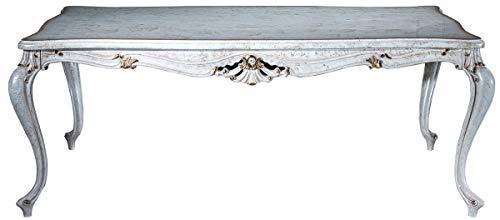 Casa Padrino Mesa de Comedor Barroco Blanco Antiguo/Oro 201 x 102 x A. 80 cm - Mesa de Cocina de Madera Maciza - Mesa de Comedor - Muebles de Comedor de Estilo Barroco