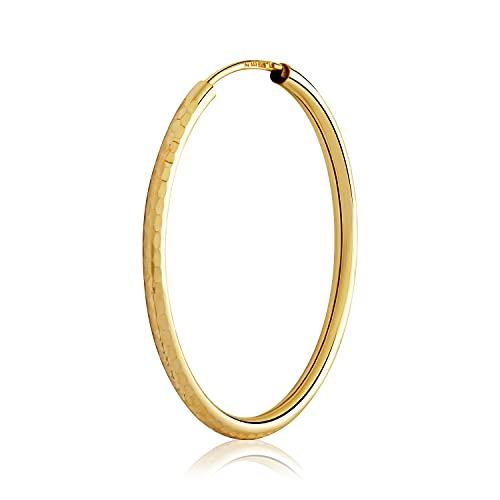 NKlaus Pendientes de aro 3092 de oro amarillo 333 de 2 mm de grosor y 8 quilates, 3092
