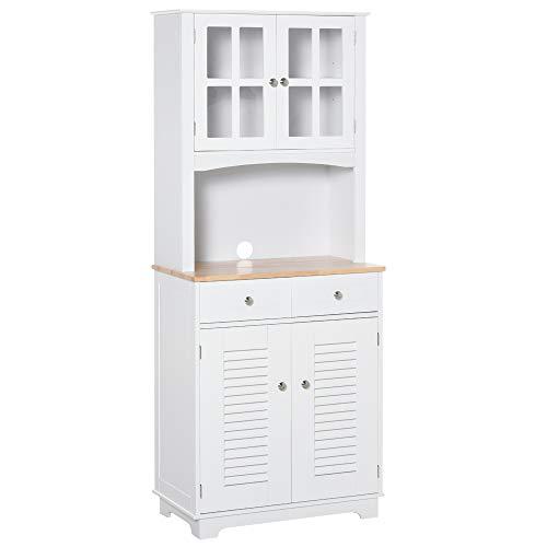 HOMCOM Credenza Alta per Cucina, Mobile Buffet in Legno Bianco, Armadio Dispensa in Stile Classico, Bianco, 68x39.5x170cm