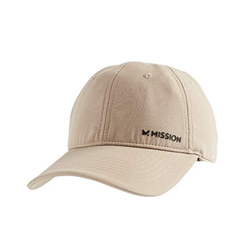 Mission Cooling Performance Hat- Men's & Women's Cap, UPF 50 Sun Protection, Hook & Loop Close, Evaporative Cool Technology, Cools Instantly When Wet, Great for Golf, Running, Baseball- Khaki