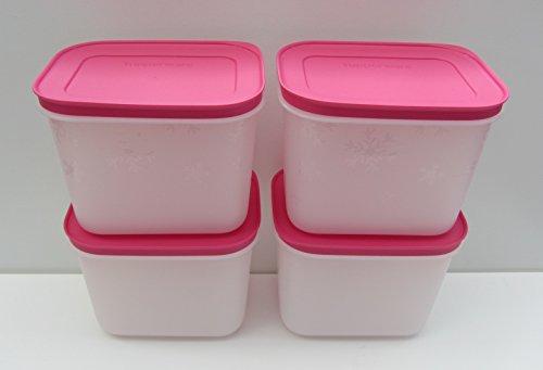 Tupperware Gefrierbehälter 4 x 1,1 l - Deckelfarbe: pink Gefrier-Behälter