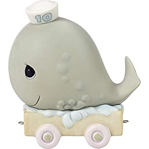 Precious Moments, May Your Birthday Be Mammoth, Birthday Train Age 10, Bisque Porcelain Figurine, 142030