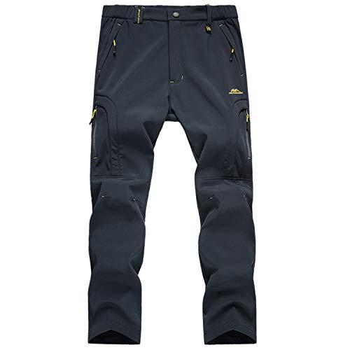 LUI SUI Pantalones para Caminar al Aire Libre con Forro Polar Softshell para Hombre, Pantalones de esquí de Senderismo cálidos y cálidos con Bolsillos con Cremallera