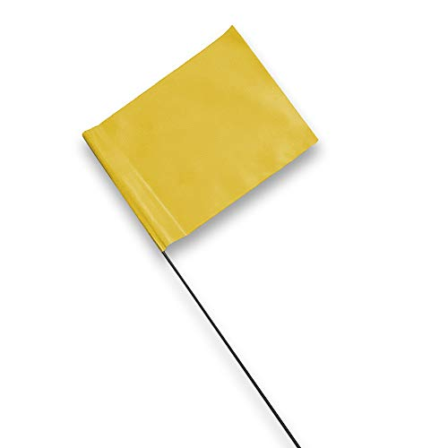 Yellow Marking Flags 100 Pack - 4 x 5-Inch Flag on 15-Inch Steel Wire - Marker Flags for Irrigation, Sprinkler Flags, Lawn Flags, Yard Flags, Garden Flags, Dog Training, Invisible Fence