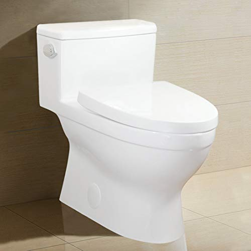 Winzo WZ5024 Elongated One-Piece Toilet, High Efficiency Single Side Flush 1.28 GPF,Comfort Height,Skirted Modern Design with Soft Closing Seat, WaterSense Porcelain White