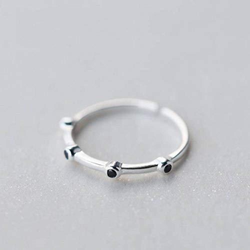 Elegant Dress S925 Silberring Weiblicher Stil Einfacher Schwarzer Kleiner Diamantring Einfacher und Zarter Kleiner Runder Diamantring, S925 Silberring