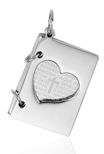 Epinki Edelstahl Halsketten, Herren Kette Halsketten Buch Concave Herz Kreuz 2.7X2Cm Silber